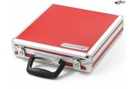 Aluminum Briefcase for cars and controls in red color.