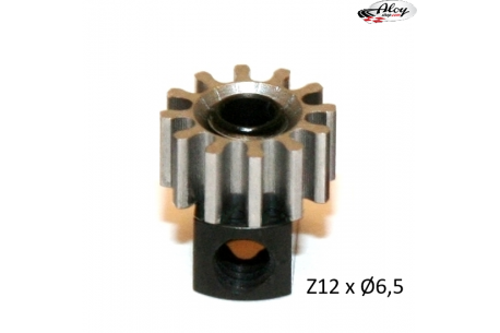 Steel Pinion pull-out brass Z12 x 6.5 mm