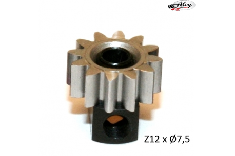 Steel Pinion pull-out brass Z12 x 7.5 mm