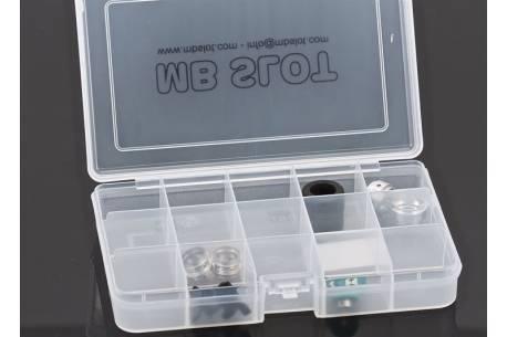 Caja de 15 compartimentos con cierre.